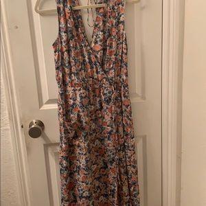 Current Elliott sleeveless print  faux wrap dress